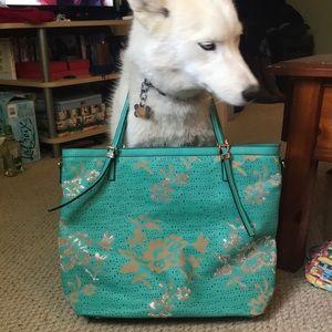 Handbags - Turquoise Floral Purse